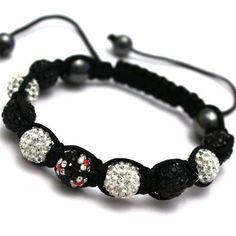 Black & White Flower Crystal Shamballa Bracelet  79080