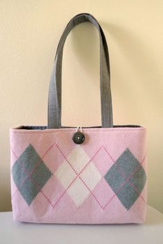 Pink + Gray Argyle Knit Sweater Purse made from repurposed fabrics by Sweet Pea Purse Company on etsy, $38.00