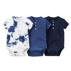3-Pack Short-Sleeve Henley Bodysuits