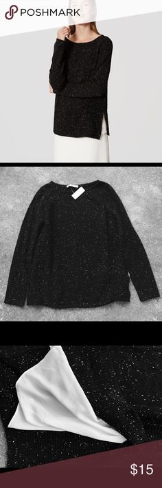 NWT Ann Taylor Loft Mixed Media Sweater L Sophisticated black marbled mixed media sweater by Ann Taylor Loft. NWT, size large. Side slit reveals dainty white underlay, but only during movement. Gorgeous & chic! LOFT Sweaters Crew & Scoop Necks