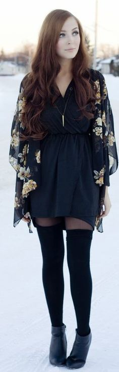 Sheer cardigan, flowy dress, black tights, over-the-knee socks