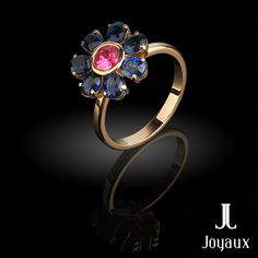 Sapphire & Ruby Floral Ring Natural Gemstones, Heart Ring, Sapphire, Jewelry Making, Jewellery, Rings, Floral, Jewels, Schmuck