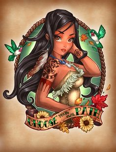 8 Very Cool Disney Princess Pinup Tattoos - So neat to see well known characters seen through a new styistic lense.
