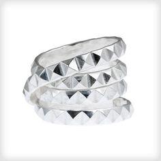 Daisy Knights Silver Studded Wrap Ring-Designer Dress Rings-Designer Jewellery | Cotton