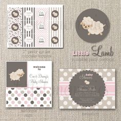 DIY Printable Party Package. Little Lamb Neutrals Pink Baby Shower COLLECTION. Customizable. totful memories. $35.00, via Etsy.