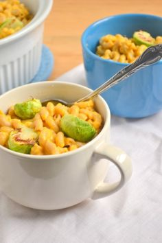 Pumpkin Mac and Cheese with Roasted Brussels Sprouts - Food Doodles