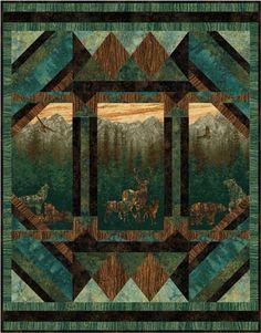 Nature Quilt Kit idea for moose quilt panel Fabric Panel Quilts, Fabric Panels, Quilting Fabric, Moose Quilt, Man Quilt, Wildlife Quilts, Attic Window Quilts, Quilt Border, Animal Quilts