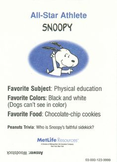 Peanuts MetLife All Star Cards - Snoopy