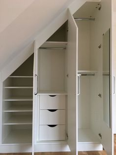 Check out how we can squeezed all this storage inside this small amount of space. organization for small spaces Check out how we can squeezed all this storage inside this small amount of space. Closet Under Stairs, Space Under Stairs, Under Stairs Cupboard, Storage Under Stairs, Slanted Ceiling Closet, Staircase Storage, Loft Storage, Storage Ideas, Eaves Storage