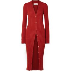 Maison Margiela Ribbed wool cardigan (64.520 RUB) ❤ liked on Polyvore featuring tops, cardigans, dresses, sweaters, jackets, jumper, red, wool top, maison margiela and woolen tops
