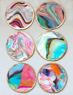 DIY Crafts Using Nail Polish - DIY Marbled Coasters - Fun, Cool, Easy and Cheap Craft Ideas for Girls, Teens, Tweens and Adults | Wire Flowers, Glue Gun Craft Projects and Jewelry Made From nailpolish - Water Marble Tutorials and How To With Step by Step Instructions http://diyprojectsforteens.com/best-nail-polish-crafts