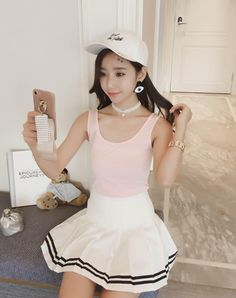 #AdoreWe #VIPme (VIPSHOP Global) DOCARE Pink Plain Square Sheath Simple Vest - AdoreWe.com