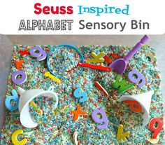 Wacky Wednesday! Dr. Seuss sensory bin for preschoolers.