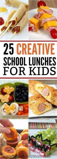 Find creative school lunch ideas for kids here. No more boring lunches with these ideas. Get 25 creative school lunch ideas for kids that they will love. #backtoschool #SchoolLunch #kidslunch #onecrazymom