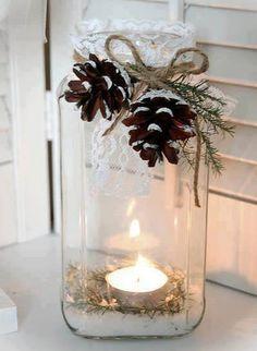 Vinterpyntad glasburk