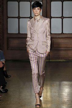 silk pinstripe blazer pant suit - philosophy - spring 2013 rtw #nyfw