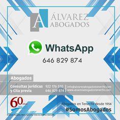 Ahora puede contactar con nuestros abogados por WhatsApp para solicitar Cita Previa y realizar su breve Consulta Jurídica. http://alvarezabogadostenerife.com/?p=5430 #SomosAbogados