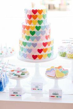 rainbow heart cake with rainbow layers inside! http://www.thetomkatstudio.com/rainbowheartparty