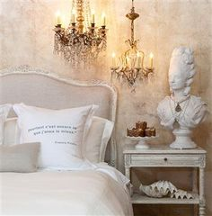 Sophia French Country Antique White Louis XV Upholstered Queen Headboard
