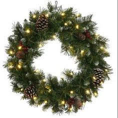 30 pre lit frosted ashberry pine artificial christmas wreath warm clear led lights available at walmart - Live Christmas Trees Walmart