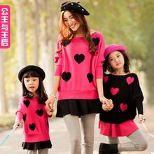 Fashion matching family sweaters pullover clothes mom daughter girl sweater autumn /winter sweaters parent-children kids girls(China (Mainland))