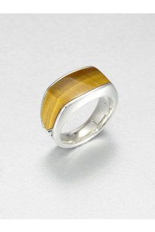 Men's Tiger's Eye Sterling Silver Band Ring