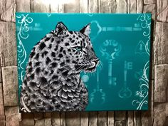 Excited to share the latest addition to my shop: Snow Leopard Teal Background, House Decorations, Snow Leopard, Acrylic Painting Canvas, Original Artwork, Hand Painted, Etsy Shop, The Originals, Gifts