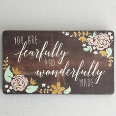 Fearfully and Wonderfully Made - Hand-painted Wood Sign - Baby Girl Nursery - Mint and Gold - Redroot Factory - www.etsy.com/shop/redrootfactory - #redrootfactory #woodsign #handpainted #handmade #fearfullyandwonderfullymade
