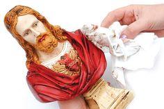 Pintura em gesso do Sagrado Coração de Jesus - Portal de Artesanato - O melhor site de artesanato com passo a passo gratuito