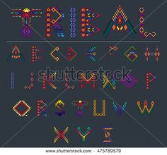 Tribal font ethnic vector alphabet design