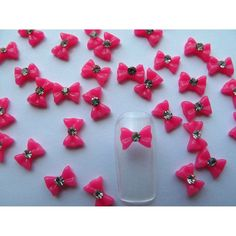 350buy Nail Art 3d 100 Piece Small Hot Pink Bow /Rhinestone for Nails, Cellphones .8cm * Learn more by visiting the image link.