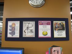 Sayville has found a great way to display multiple flyers. Teen Bulletin Boards, Bulletin Board Display, Teen Library Space, Broken Link, Teen Movies, Library Displays, Trivia, Flyers, Spaces