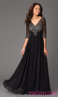 Prom Dresses, Celebrity Dresses, Sexy Evening Gowns: Floor Length V-Neck Dress with Sheer Sleeves