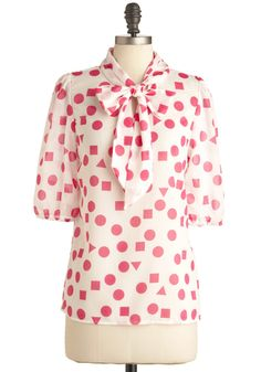 Substitute Teacher Top in Pink, #ModCloth I like the cut and pattern.  Not necessarily a pink person but it is ok in this case.