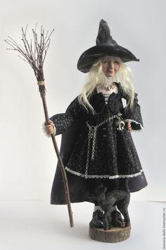 Купить Авторская кукла. Ведьмочка - черный, ведьма, ведьмочка, кукла ручной работы, авторская кукла