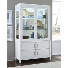 Samuel Lawrence 8673-141-8673-142 Brighton China Cabinet in White