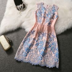 Fashion round neck embroidered dress #122309AD