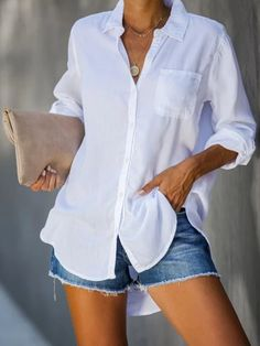 Solid Casual Buttons Down Side Pocket Blouse Work Casual, Casual Tops, Casual Shirts, Casual Outfits, Outfits Con Camisa, Shirt Bluse, White Shirts, White Shirt Outfits, Types Of Sleeves