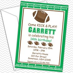 Football Party Invitations PRINTABLE  Birthday by sharenmoments