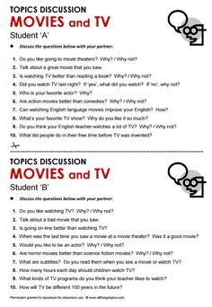 English teacher: Discussing Movies (or Films) :)