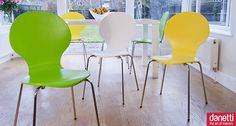 Modern bright dining chair | Great Value | Plywood with Slim Chrome Legs