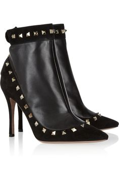 #Valentino studded suede and leather ankle boots
