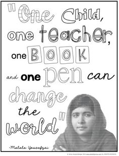 Malala Yousafzai Classroom Activities - FREE coloring page and quote analysis activity for Women's History Month.