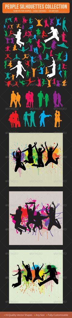 Jumping People Silhouettes  #GraphicRiver         This is a huge silhouettes set of jumping people. There is 91 different silhouettes of people in the collection. All of each silhouettes are easily editable, change colors with one click or go any size…  - Included Files:   PSD (%100 Vector Shaped)