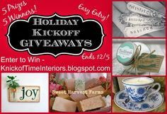 Black Friday GIVEAWAY at Knick of Time - 5 Prizes and 5 Winners!   http://knickoftimeinteriors.blogspot.com/