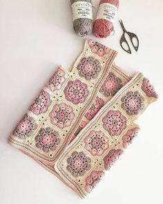 Granny square with interesting color combination crochet - AmigurumiHouse Crochet Waistcoat, Gilet Crochet, Crochet Coat, Crochet Jacket, Crochet Clothes, Granny Square Crochet Pattern, Crochet Squares, Crochet Motif, Crochet Flowers
