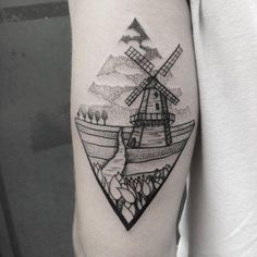 Dutch landscape tattoo by Roald Vd Broek inked on the left triceps Windmill Tattoo, Dutch Tattoo, Tradional Tattoo, Amsterdam Tattoo, History Tattoos, Aesthetic Tattoo, Landscape Tattoo, Shape Tattoo, Love Tattoos