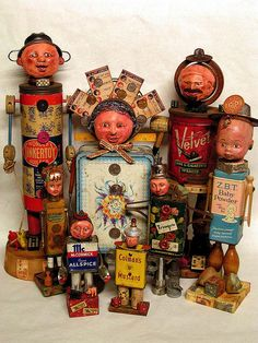 Assemblage art characters--I like the way these items are recycled into really interested sculpture!