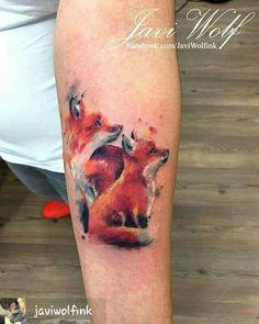 Javi Wolf Fox pups watercolour tattoo