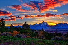 Grand Teton Sunset by Greg Norrell from Grand Teton National Park #nature #sunset #Tetons. Prints start at $30.
